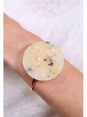 Caroline Hill Marbled stone large circle cuff bracelet