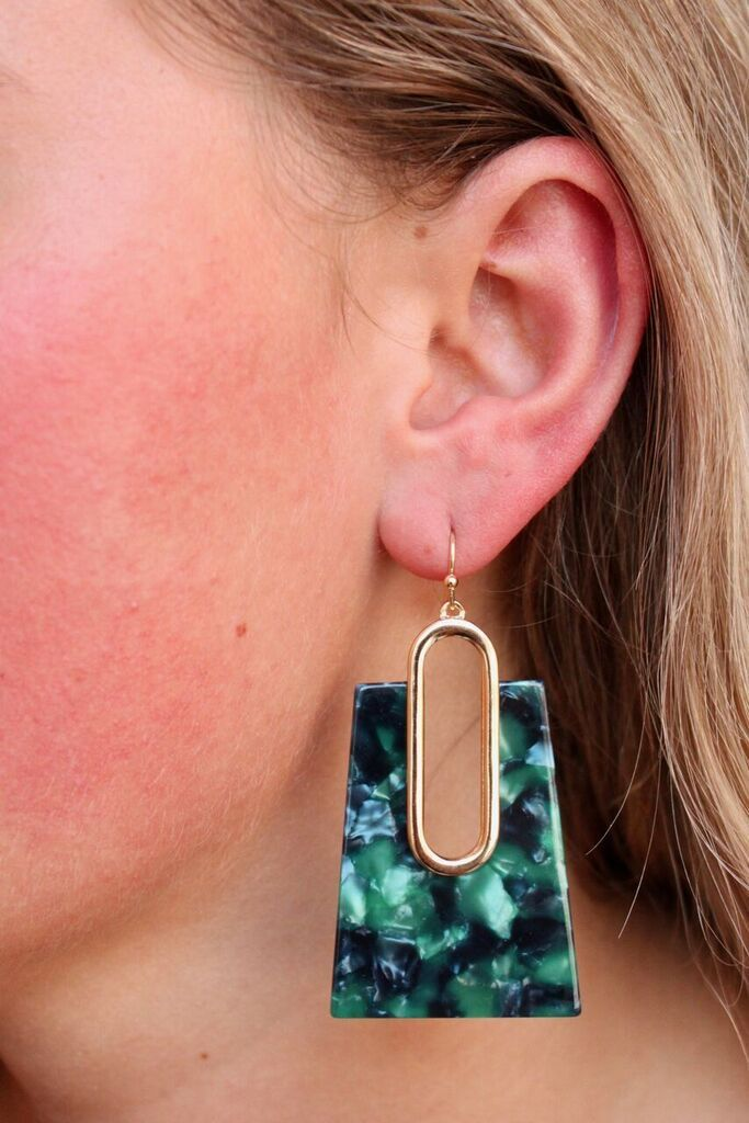 Caroline Hill Antro resin rectangle drop earring