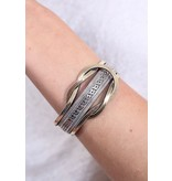 Caroline Hill Calle Leather and Metal Twist Magnetic Clasp Bracelet