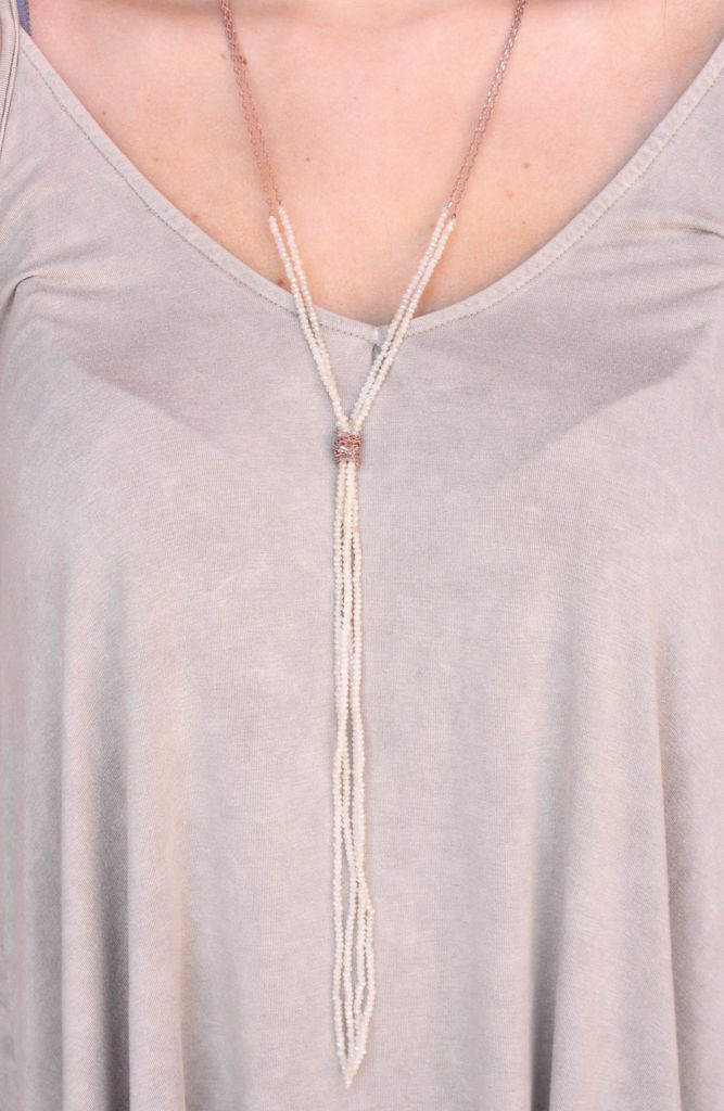 Caroline Hill Bunter double layer necklace with knotted crystal bed tassel