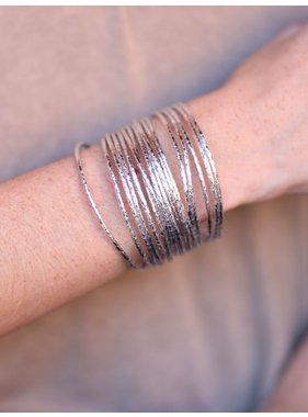 Caroline Hill Ganeri multi strand metallic leather tube bracelet