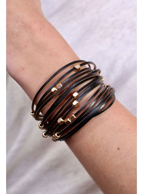 Caroline Hill Masala multi strand leather and metal bead magnetic bracelet