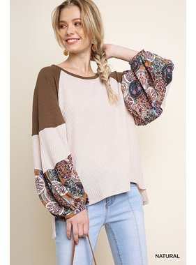 Umgee Waffle knit top with floral print sleeves