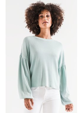 Z Supply Gathered sleeve waffle knit top