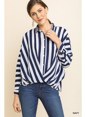 Umgee Striped long sleeve roll up tunic