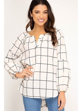 She + Sky Long sleeve woven grid print top