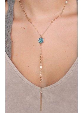 Caroline Hill Bestia delicate disc druzy y drop necklace