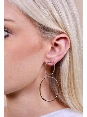 Caroline Hill Fifield post drop double oval hammered metal earring