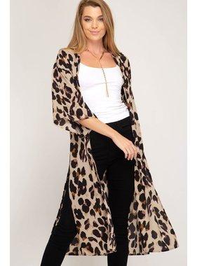 She + Sky Half sleeve leopard print woven kimono