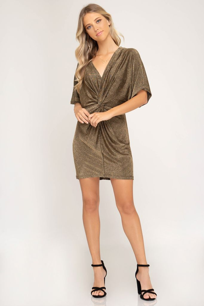She + Sky Batwing sleeve metallic knit dress with front twist detail