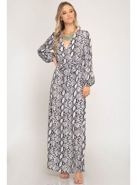 She + Sky Long sleeve woven snake skin print maxi dress