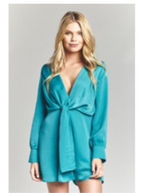 Mary & Mabel Long sleeve tie front romper