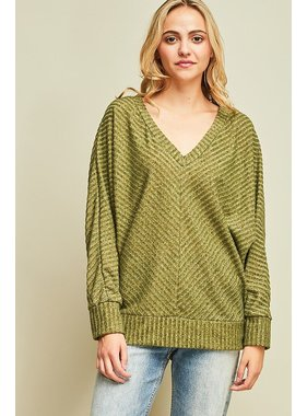 Entro Inc. Ribbed v-neck sweater top