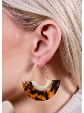 Caroline Hill Mackrie semi circular resin earring with gold accent