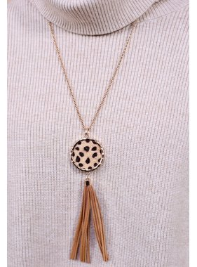 Caroline Hill Welling leopard print tassel pendant