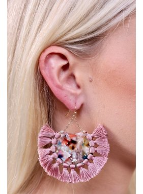 Caroline Hill Cicero Resin drop earring with fabric tassel fringe
