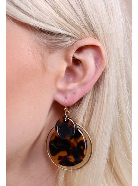 Caroline Hill Stanton double resin circle with gold hoop drop