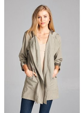 Staccato Zip front drawstring waist button flap front pocket jacket