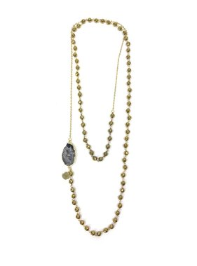 Kristalize Jewelry Hayes long beaded necklace with druzy accent