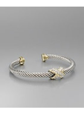 Golden Stella Cable wire cuff with paved CZ X bracelet