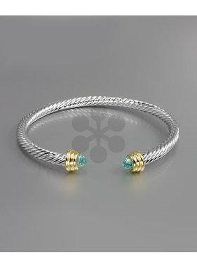Golden Stella Double CZ end twisted bracelet