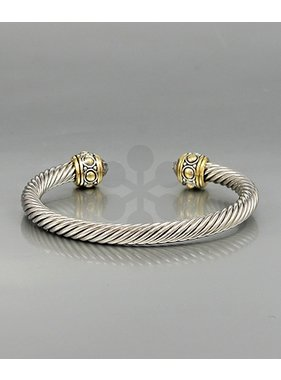 Golden Stella Crystal cable wire bangle