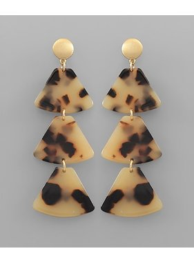 Golden Stella Trapezoid dangle celluloid earrings