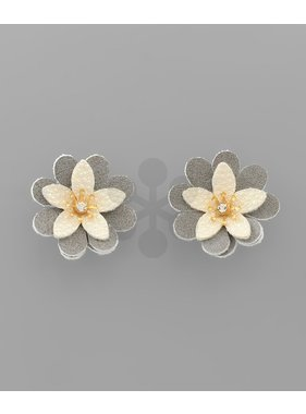 Golden Stella Leather flower earrings