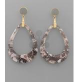 Golden Stella Acrylic C - out T drop earrings