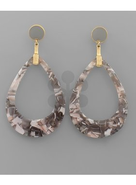 Golden Stella Acrylic C - out T drop earrings
