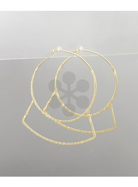 Golden Stella Circle & curved bar earrings