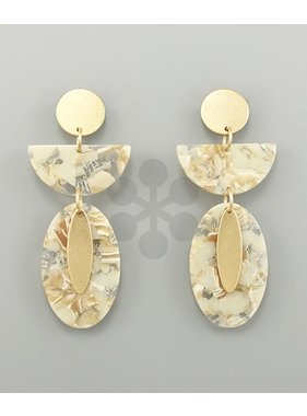 Golden Stella Acrylic wedge & oval earrings