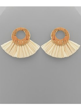 Golden Stella Cork circle & laffia earrings
