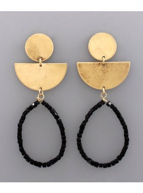 Golden Stella Circle wedge & teardrop bead earrings