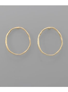Golden Stella Hammered oval earrings
