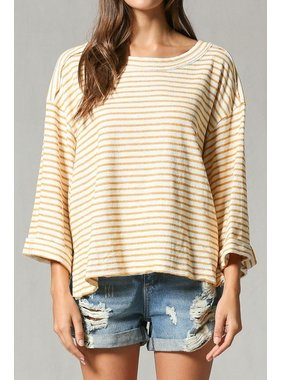 By Togeher Quarter sleeve stripe top