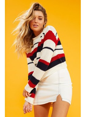 House Of Quirky Stripe knit sweater by MINKPINK