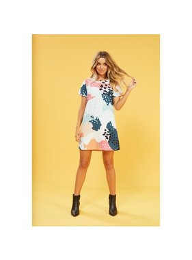 House Of Quirky Coral sea abstract tee dress
