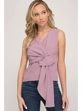 She + Sky Sleeveless woven top with front twist detail