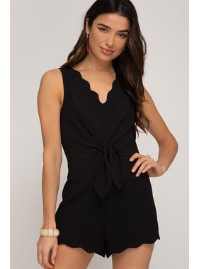She + Sky Sleeveless woven romper with front tie detail and scalloped hemline