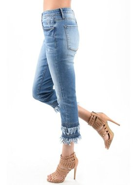 KanCan Double fringed cropped jean