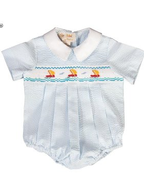 Rosalina Smocked sailboats striped seersucker smocked boy bubble