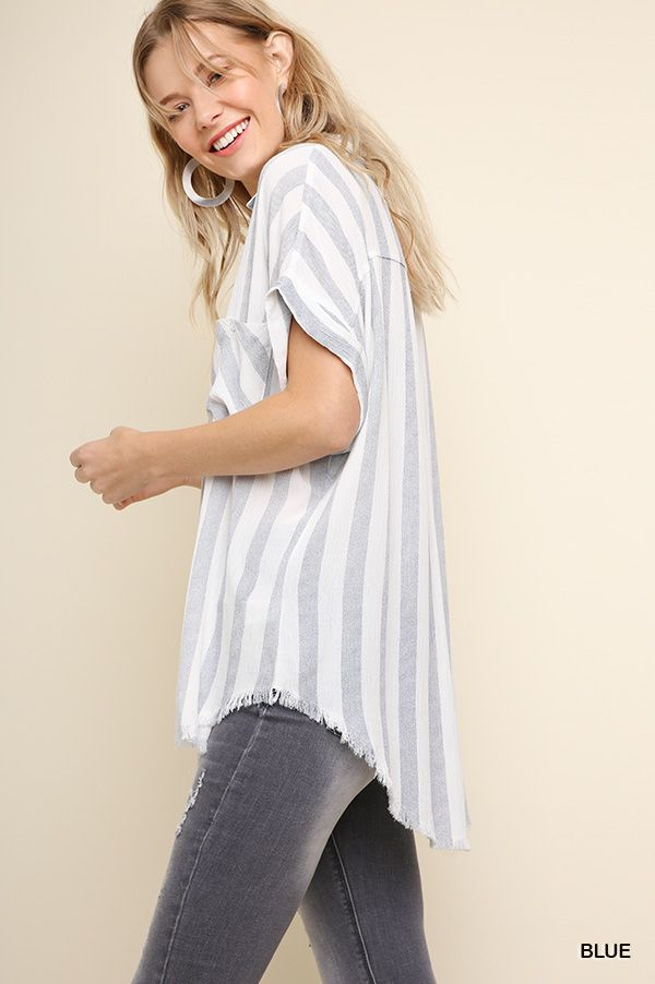Umgee Striped Collared Button Up Top w/ Frayed Hem