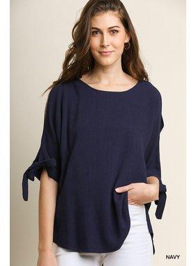 Umgee 3/4 Sleeve Open Shoulder Top with sleeve ties and scoop hemline