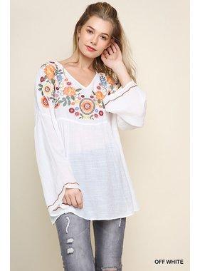 Umgee Floral embroidered v-neck babydoll top