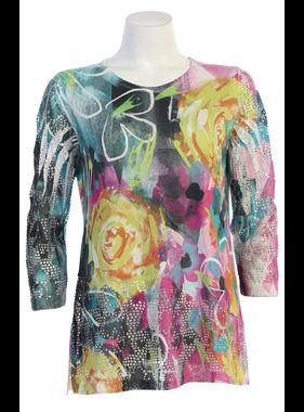 Jess & Jane Crochet contrast tunic in Roses Print