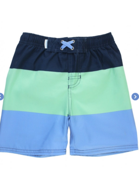 Ruffle Butts Mint & Blue Color Block Swim Trunks