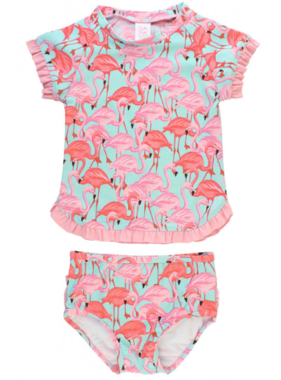 Ruffle Butts Fab Flamingo Rash Guard Bikini