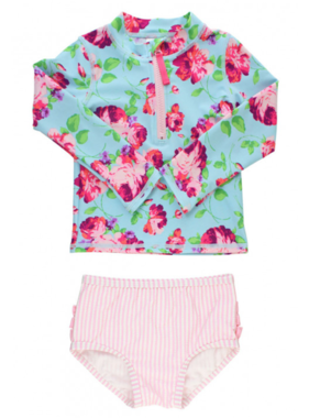 Ruffle Butts LIfe is Rosy Long Sleeve Zipper Rash Guard Bikini