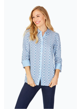 Foxcroft Germaine Wrinkle-Free Tile Medallion Tunic by Foxcroft